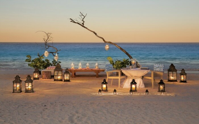 Romantic setting in Pink Beach Bahamas