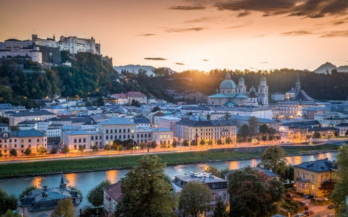 Salzburg in evening