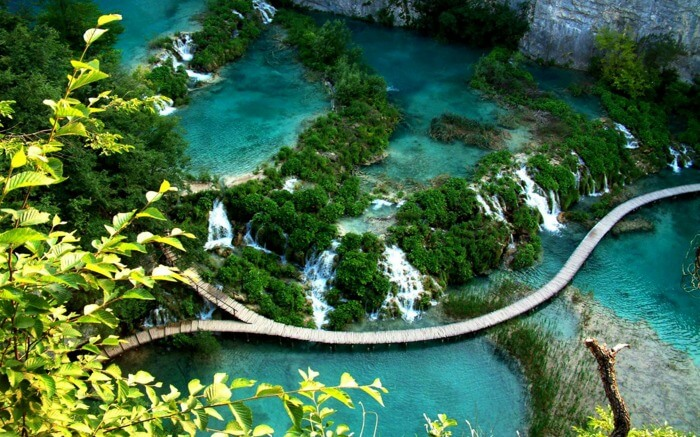 Top view of Plitvice Lakes National Par