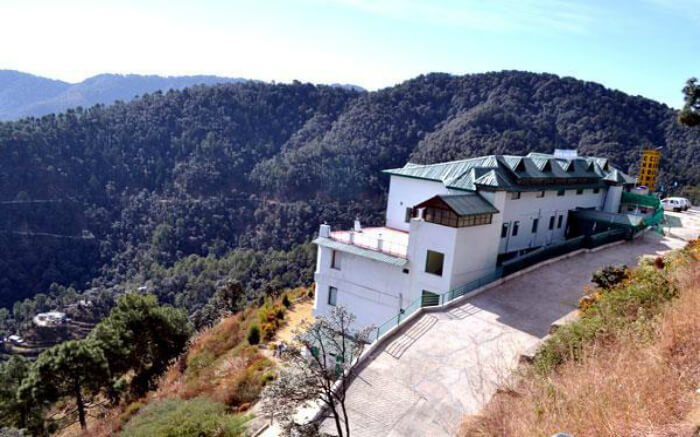 Top view of United 21 Resort and Hotel in Chail on a bright day