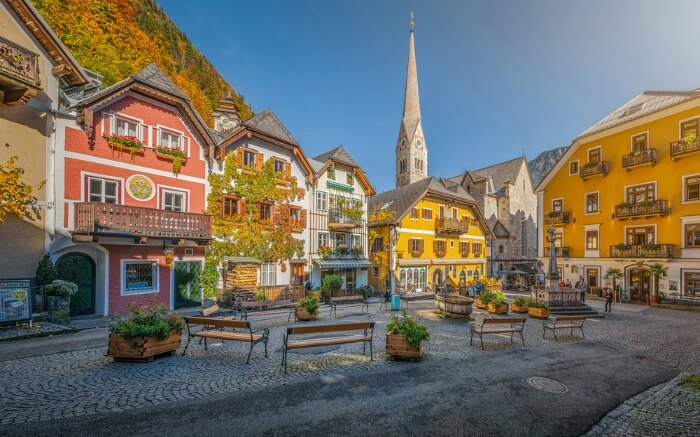 Town square in hallstatt
