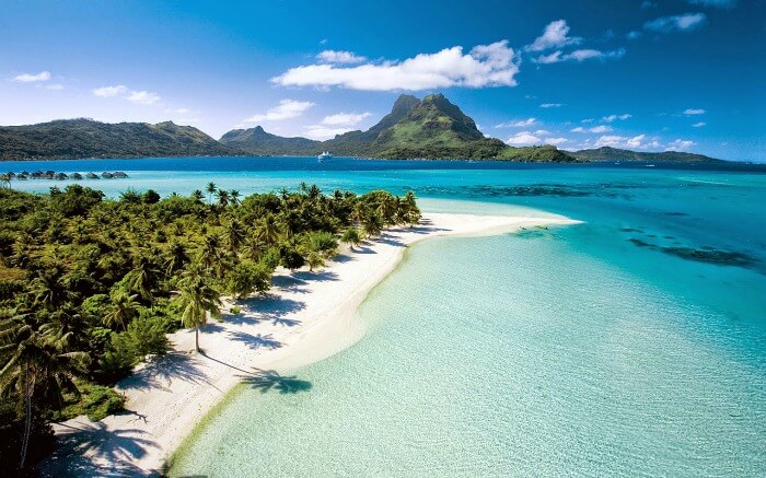View of Matira Beach in Bora Bora