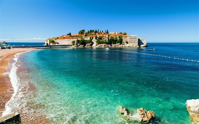 View of Sveti Stefan Beach in Montenegro