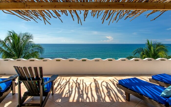 Views of the Caribbean sea from a balcony of a resort in Jamaica