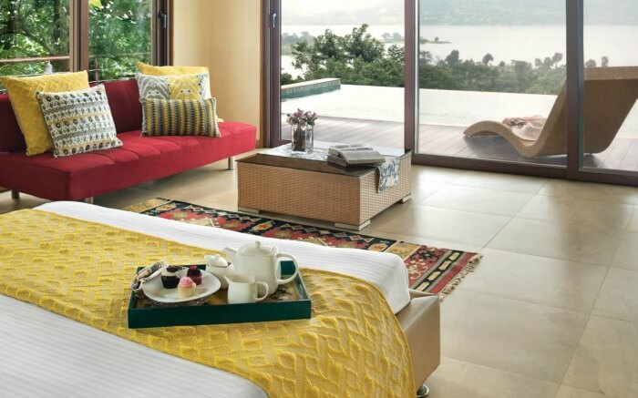 Well-laid interiors of a room of Mawi Infinity Villa in Goa