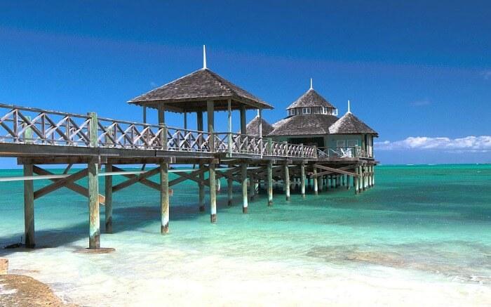 a romantic pool villa in Bahamas