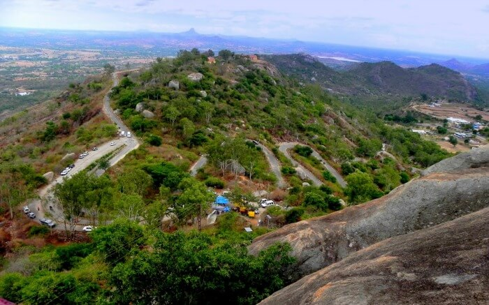 a top of Devarayanadurga from above