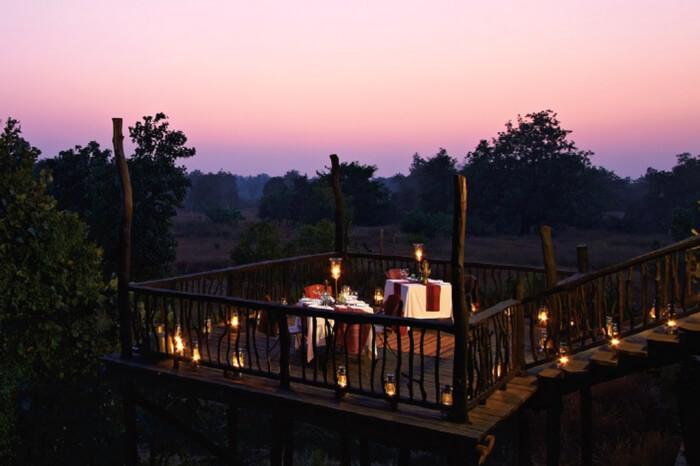 Rooftop dining of Samode Safari Logde in Bandhavgarh