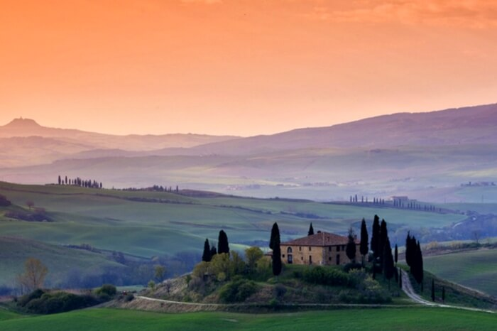 Beautiful landscape view in Siena in Tuscany in Italy