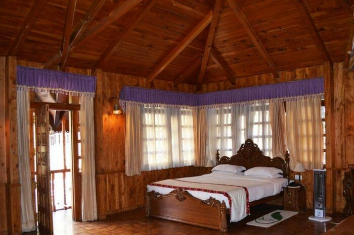 Wooden interiors of one of the cottages of The Himalayan Village in Kasol