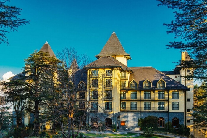 Beautiful view of Windflower Hall in Shimla on a beautiful day