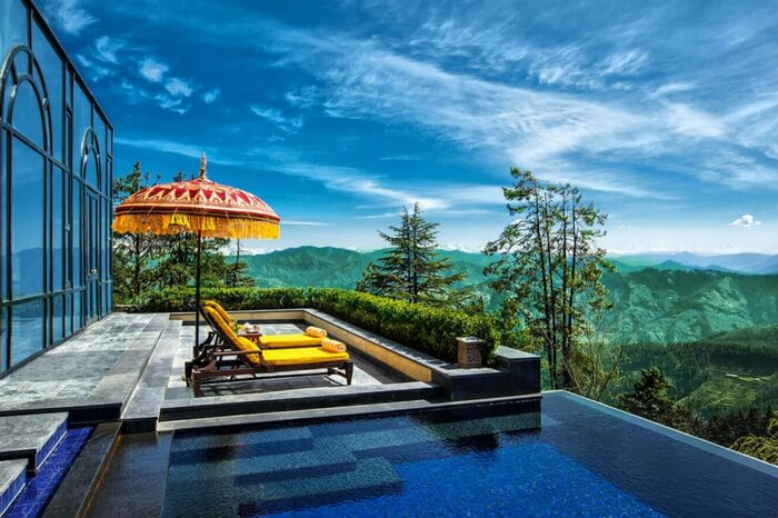 Infinity pool on the rooftop of Windflower Hall in Shimla