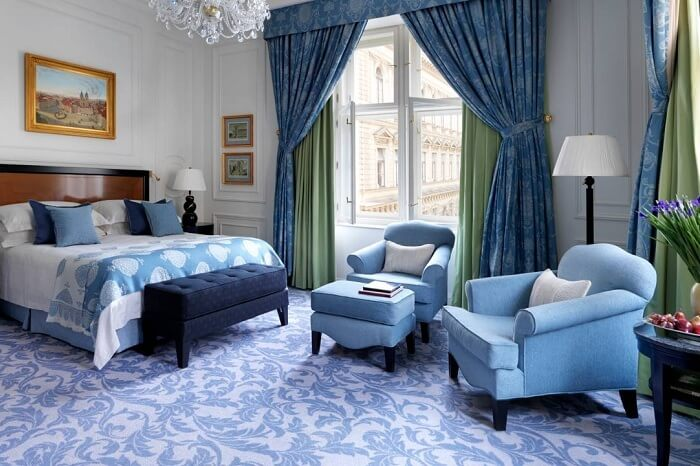 A luxe suite at the Four Seasons Prague romantic hotel