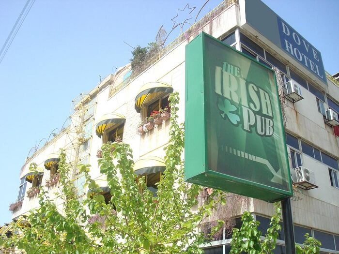 A snap of the Dove Hotel building in Amman that houses the Irish Pub