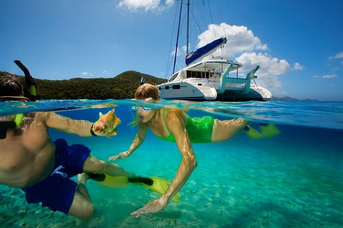 A couple snorkeling in the US Virgin Islands in the Caribbean