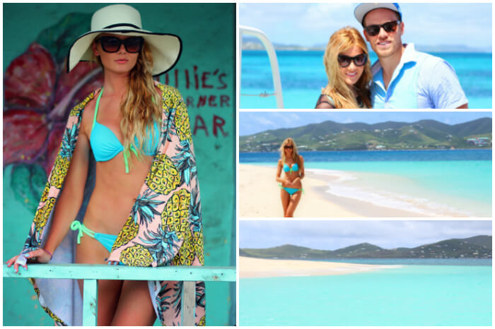 Travel blogger Amber Fillerup Clark and her friend taking a tour of Buck Island in US Virgin Islands