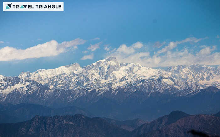 A view of the snowcapped hills from Kanatal