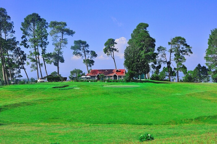 An afternoon shot of the perfectly green patch at Golf Course in Ranikhet
