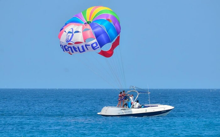 Paradise island and resort parasailing