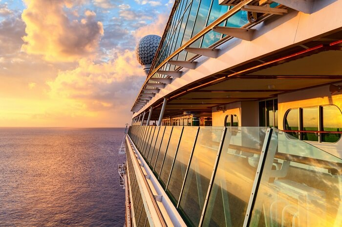 Sunset from the open deck of luxury cruise ship in Caribbean