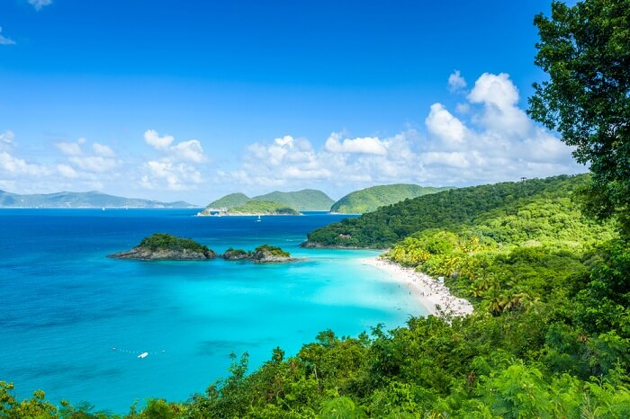 A distant shot of the gorgeous Trunk Bay at St John island of the US Virgin Islands