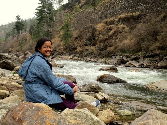 monali's friend at bhutan river