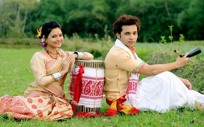 A couple from Assam dressed in traditional attire