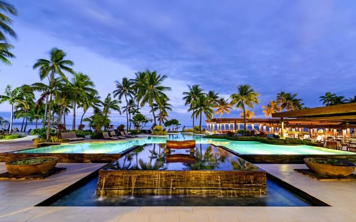 A lavish pool surrounded by palm trees overlooking a beach