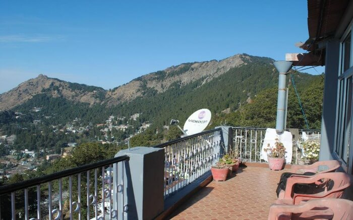 A view from the balcony of a resort in Nainital