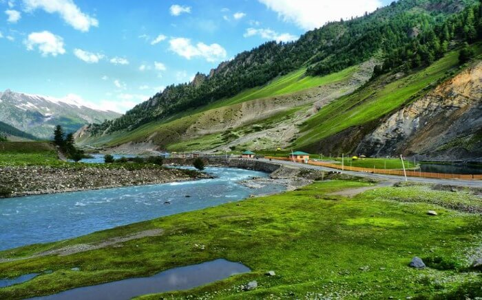 A view of Dras River cutting through the valley in Kargil