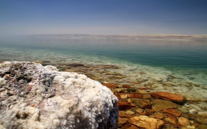Calm and pleasant view of O Beach in Dead Sea in Jordan