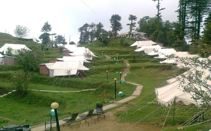 Camps of Carnival Camp well laid on mountain slopes in Kanatal