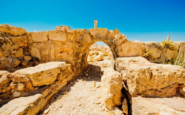 Castle ruins of Machaerus near Dead Sea in Israel