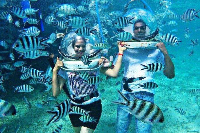 Underwater seawalking in Mauritius