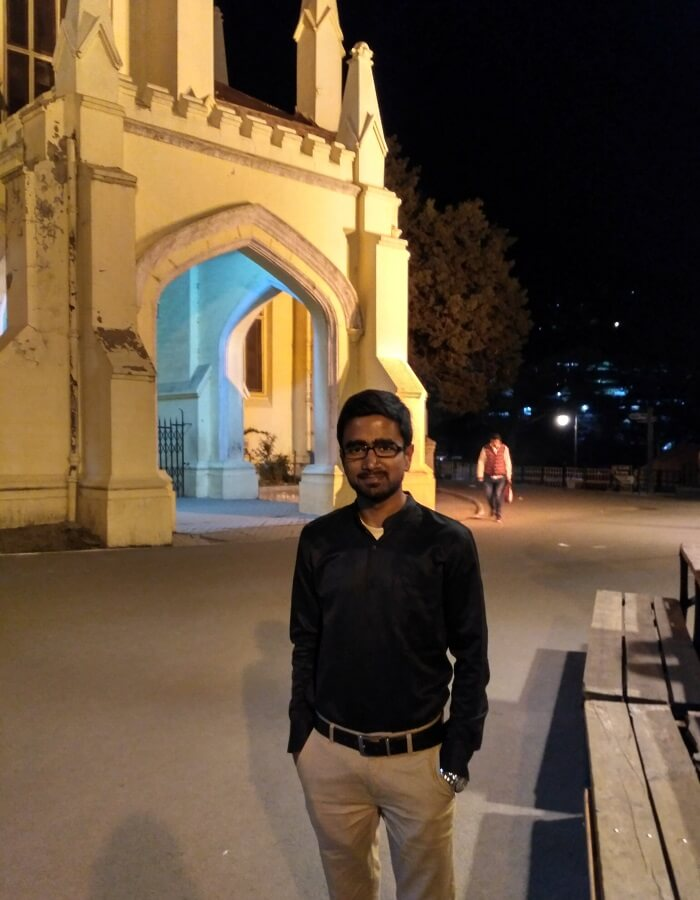 shish standing near christ church in shimla, an important landmark of his historical trip to shimla