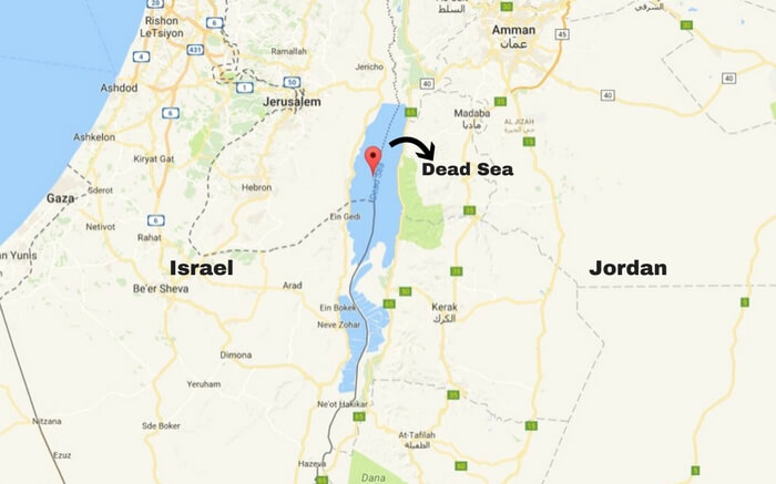 Map depiction of the Dead Sea landlocked by Israel and Jordan