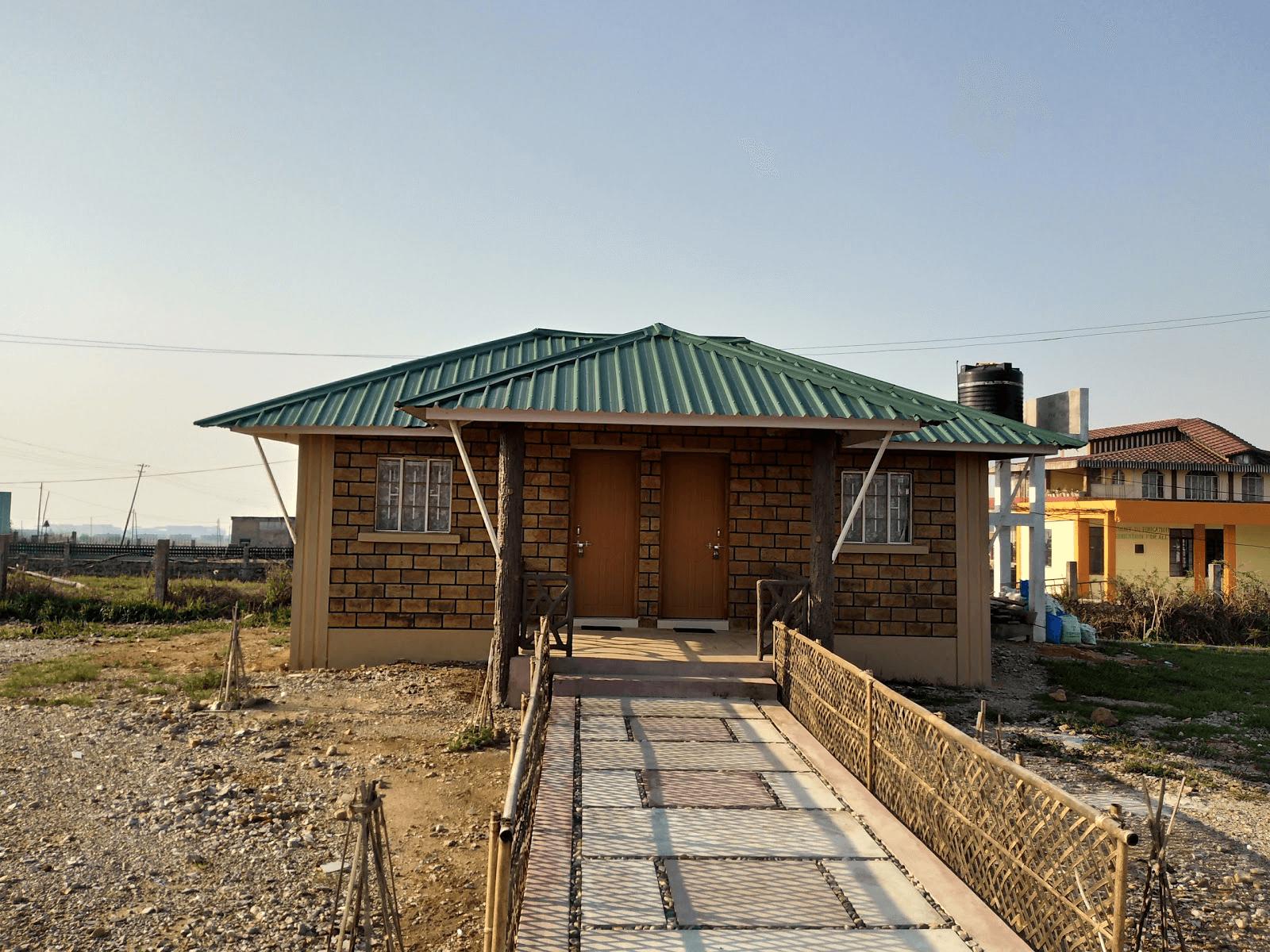 a slanted roof cottage homestay