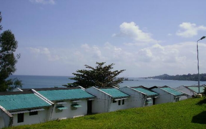 Sea overlooking cottages of Hornbill Nest Resort in Port Blair in Andaman