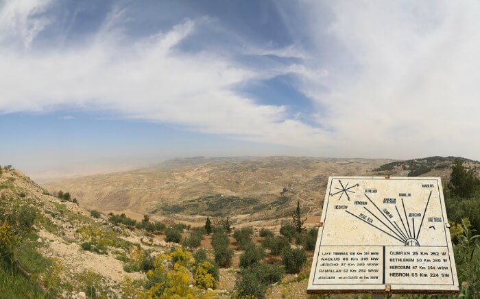 View from the top of Mount Nebo of the coast of Dead Sea in Jordan