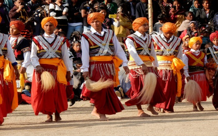 Young men dressed in traditional Meghalaya dresses for a festival