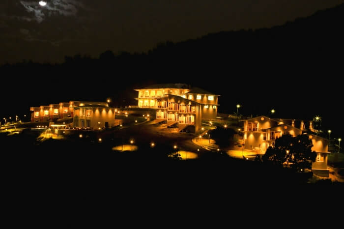 Well-lit villas of Glyngarth in Ooty at night
