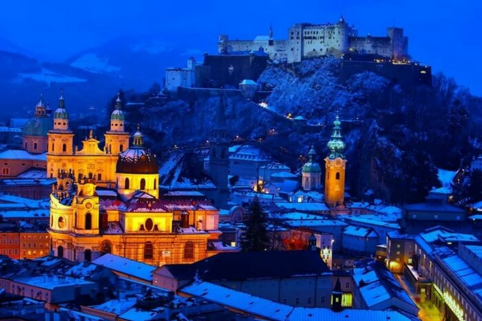 Salzburg draped in snow and twilight