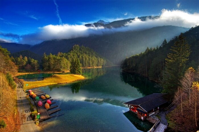 A placid lake and mystic surroundings of Tyrol