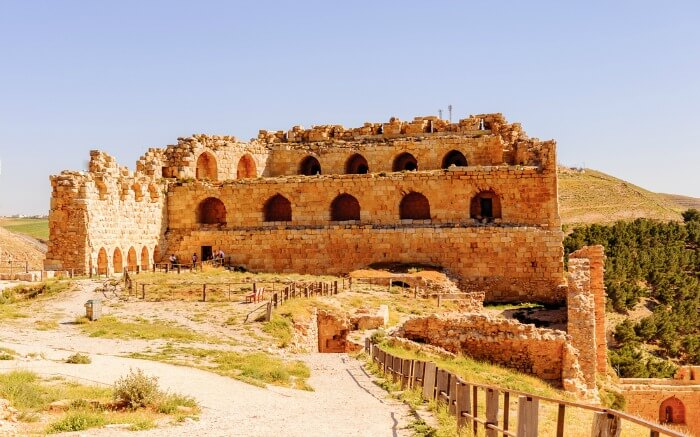 agnificent view of Kerak Castle in Jordan near Dead Sea