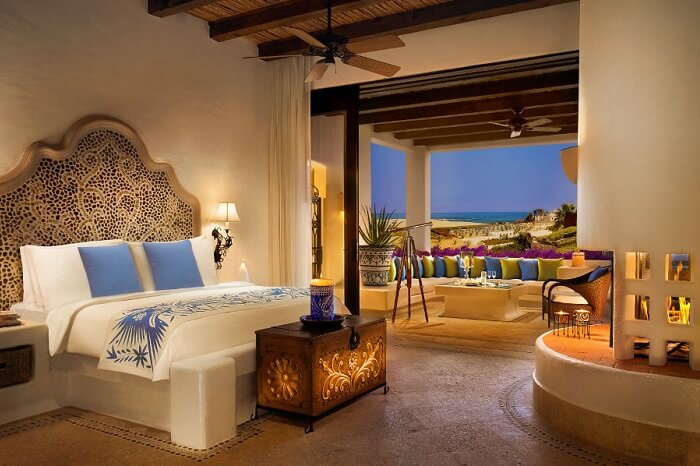 A snap of the plush interiors of the Gardenview Junior Suite at Las Ventanas al Paraiso Rosewood Resort in Los Cabos
