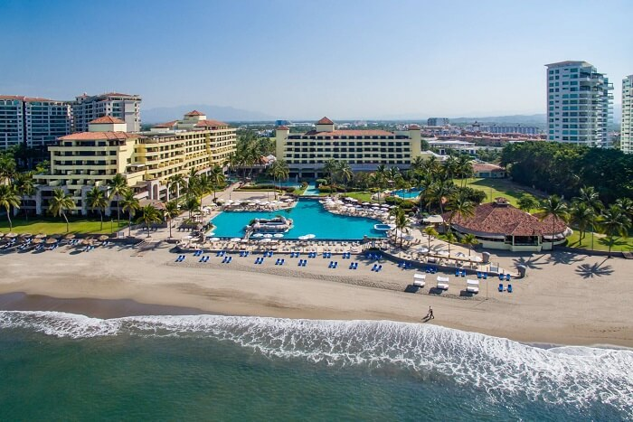 An aerial view of the CasaMagna Marriott Resort and Spa at Puerto Vallarta in Mexico