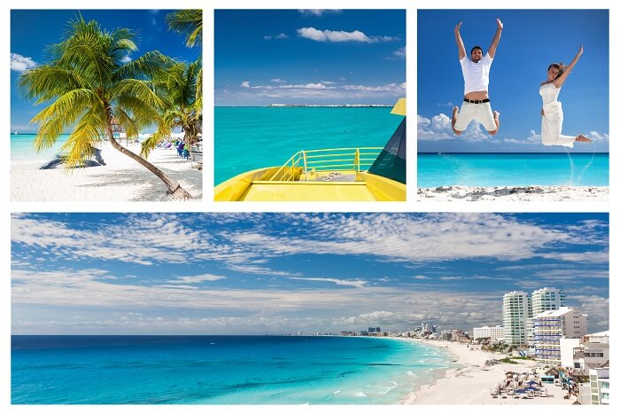 Collage with different views of Cancun capturing the various moments of a honeymoon in Mexico