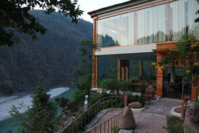 A snap of the Raga On The Ganges resort with the flowing waters of the river visible in the backdrop