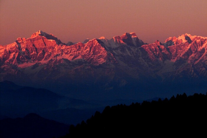 A sunset captured at Khirsu hill station in Uttarakhand