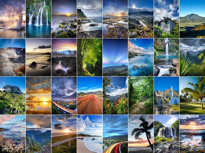A collage of landscapes from Reunion Island